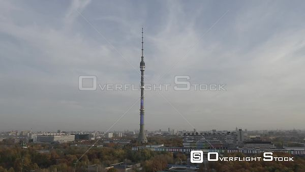 Moscow Teletower at Ostankino Closer Sideways Flight. Moscow Russia Drone Video View