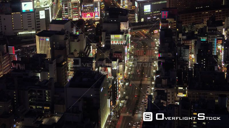 Japan Tokyo Aerial Vertical birdseye view over downtown Shinjuku at night