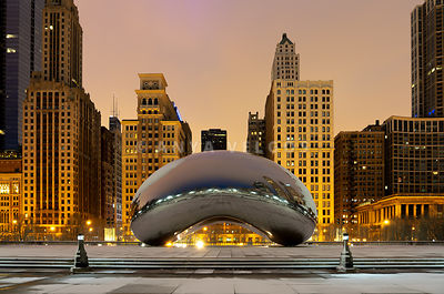 Chicago Bean Cloud Gate at Night Photo