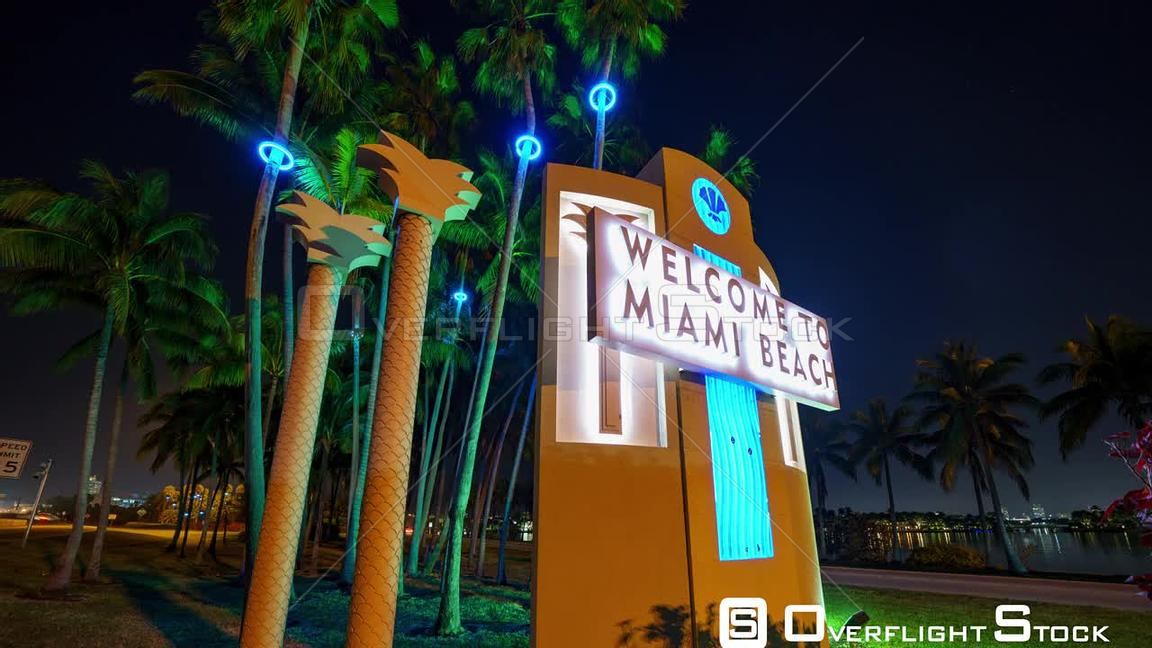 8k Miami Timelapse Welcome Sign Neon Lights