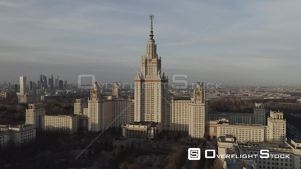 Sunset Flight Towards Moscow State University. Moscow Russia Drone Video View