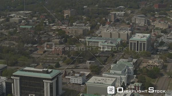 Montgomery Alabama tilt up panning reveal of downtown to the river and gun island chute  DJI Inspire 2, X7, 6k
