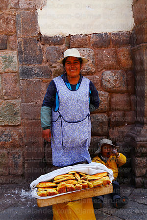 Portrait of woman selling empanadas, Cusco, Peru