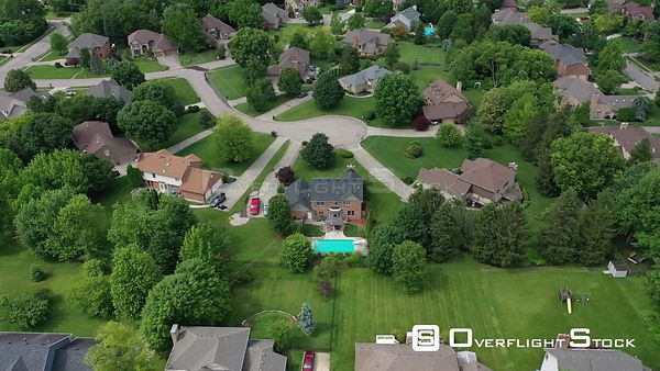 Homes and yards with streets and sidewalks, Centerville, Ohio, USA