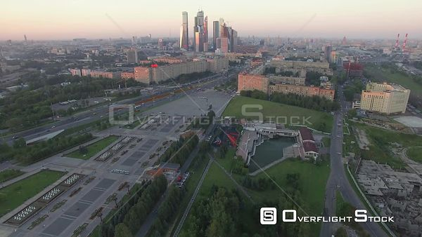 Hold in Place View of the Moscow Business City Center During the Sunset, With Moving Traffice. Moscow Russia Drone Video View