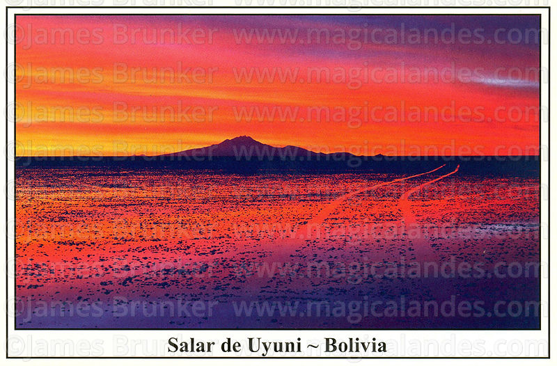 #318 Jeep tracks and Tunupa volcano (5321m) at sunset in rainy season, Salar de Uyuni