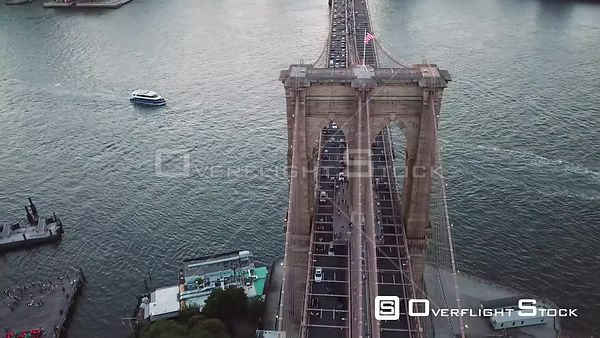 Busy Day on the Brooklyn Bridge New York Aerial Video