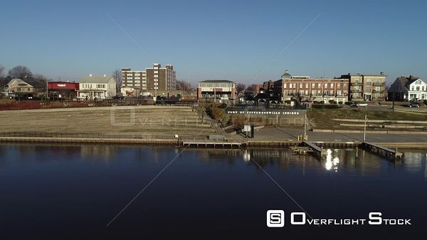 Port of Jeffersonville Indiana Ohio Riverfront Drone Aerial View