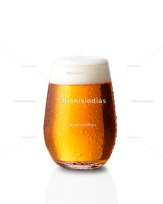 Cup with bulge with craft beer Ipa on white background