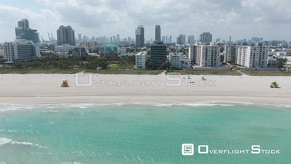 Drone Video Empty Beaches and Roadways COVID-19 Coronavirus Lockdown Miami Florida