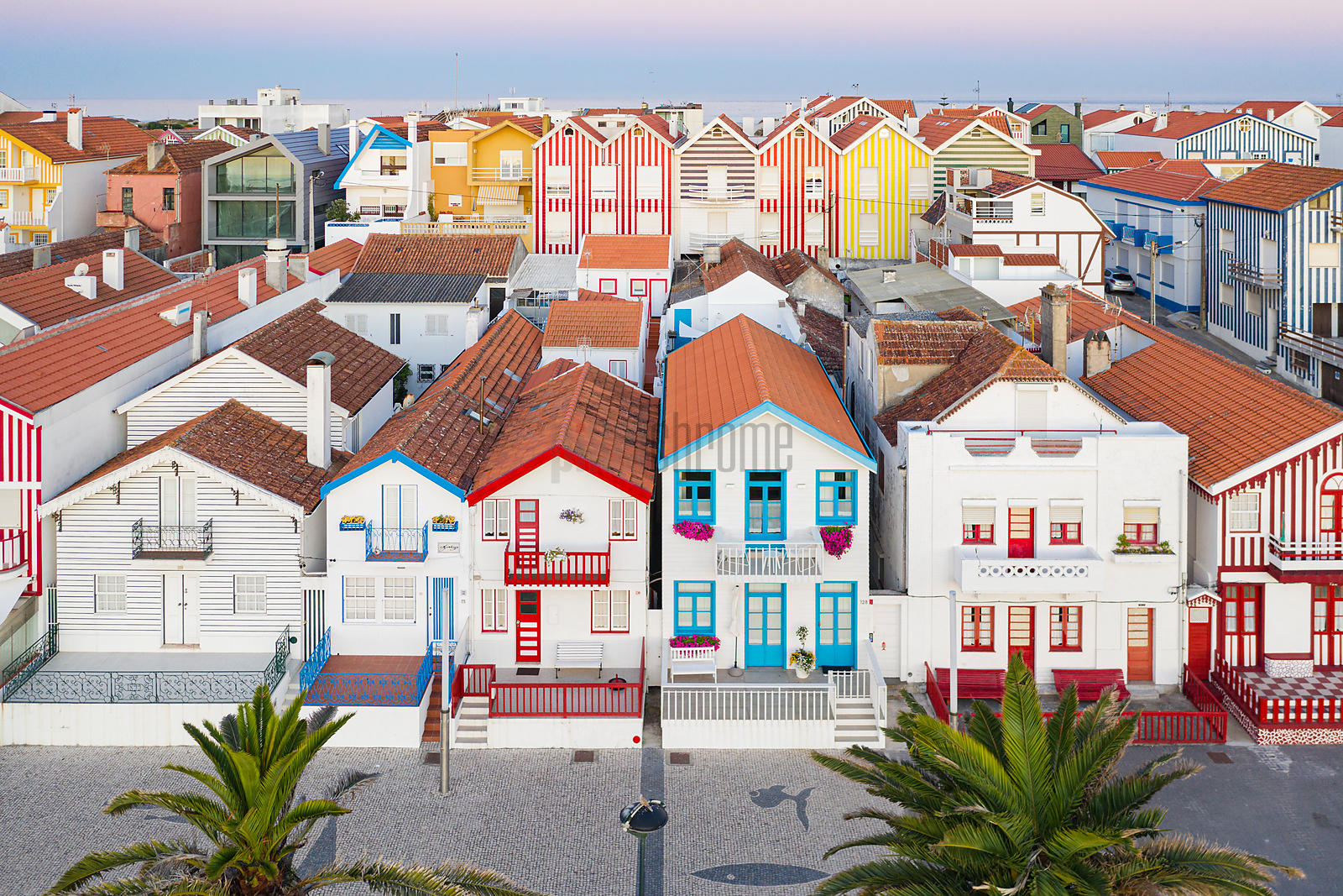 Aerial View of Colourful Houses at Costa Nova Beach