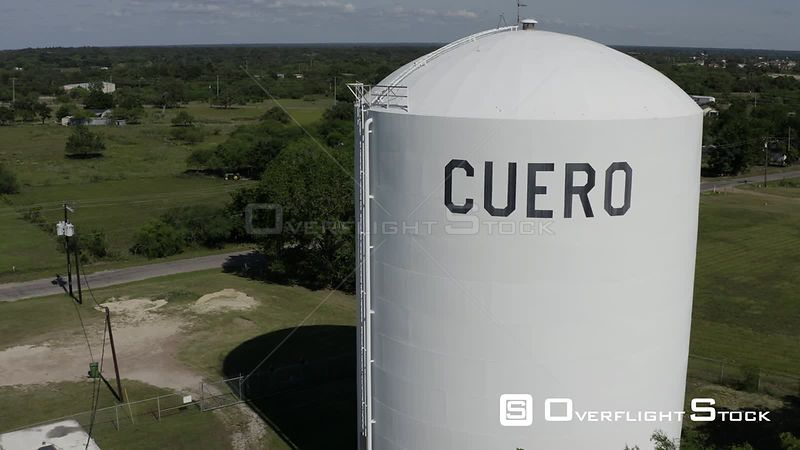 Rural Cuero Texas. Cuero Sign on Water Tank