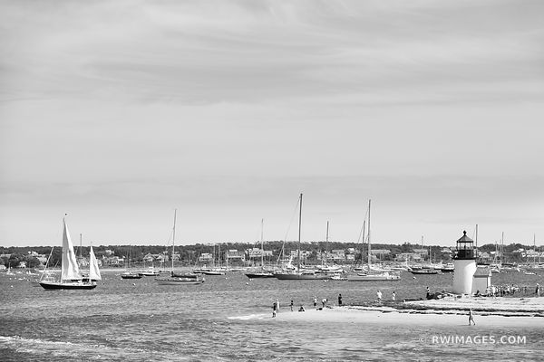 SAILBOATS NANTUCKET ISLAND HARBOR LIGHTHOUSE BLACK AND WHITE