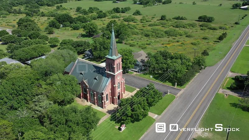 Rural church and cemetery, Schulenburg, Texas, USA