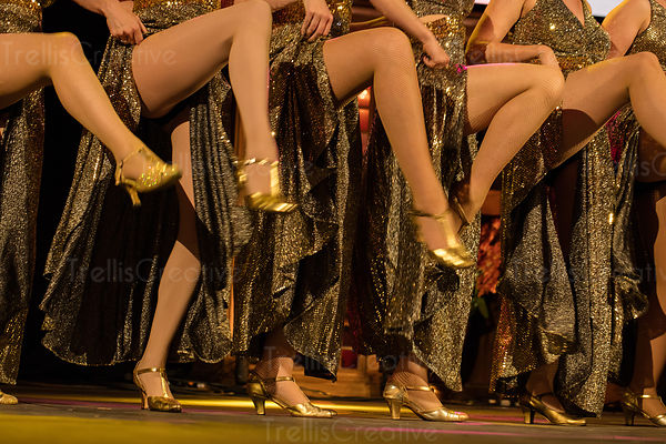 Five women performers showing bare legs during can-can dance.