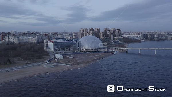 Forward Fly Towards Commercial Center in Outskirts of the City. Saint Petersburg Russia Drone Video View