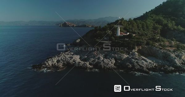 Aerial View of Red Island Lighthouse on Turkish Coast Aegean Sea Turkey