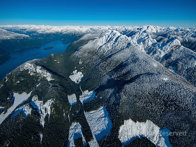 Pitt Lake and Logging Patches in Winter
