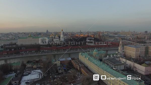 Sunset Flight Towards Moscow Kremlin. Moscow Russia Drone Video View