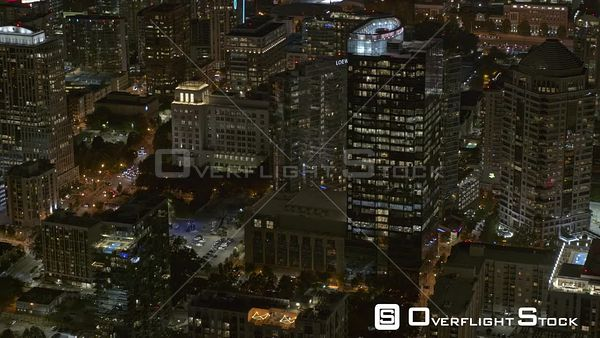 Atlanta Panning nighttime birdseye of midtown