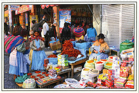 #309 Cholita selling dried chili peppers and powders in street market, La Paz