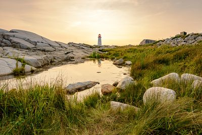 Sunset at Peggy's Cove Lighthouse.