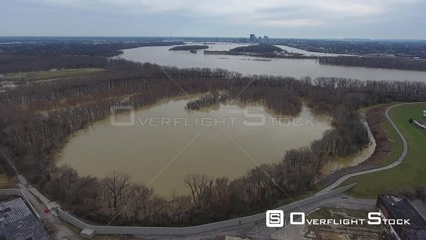 Ohio River Flooding New Albany Indiana Drone View