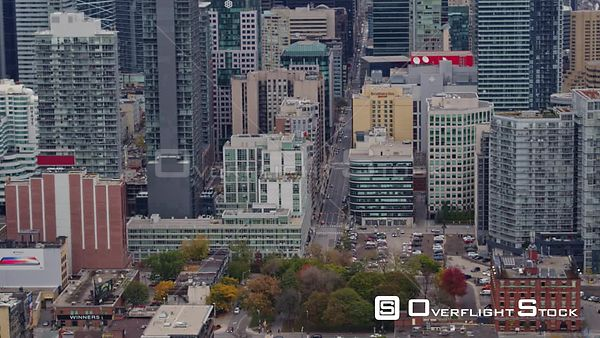 Toronto Ontario Birdseye fly through Entertainment District cityscape heading toward Chinatown