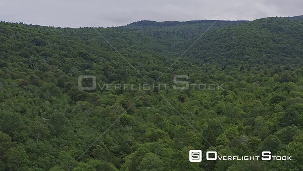 North Carolina Mountains Slow fly over of East Fork' Blue Ridge Upper Falls forest area