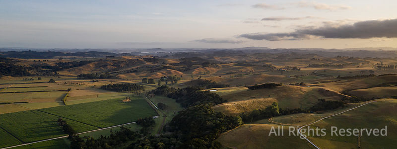 Panoramic Aerial View on Farmland Early in the Morning at Ruawai Area in Northland, New Zealand. the Landscape Shows an Exten...