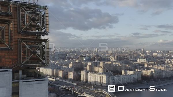 Sideway Fly by Russian Academy of Science Main Tower, With Moscow City Wide View. Moscow Russia Drone Video View