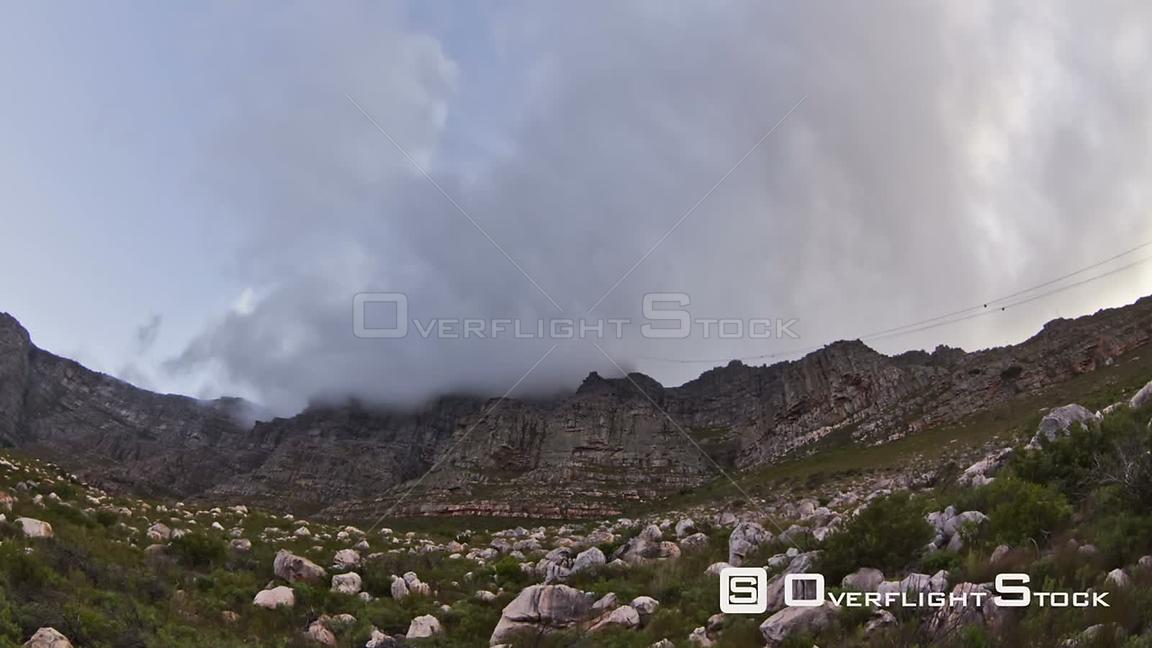 South Afirca Beautiful time lapse clip of cloud cover passing over Table Mountain in South Africa.