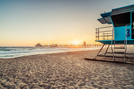 Huntington Beach Lifeguard Tower 3 and Pier Sunset Photo