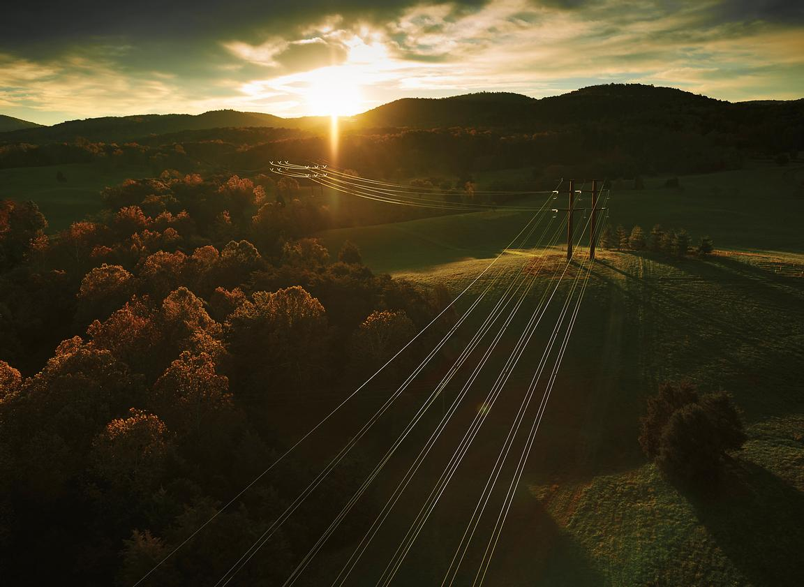 Aerial photograph of Virginia Power lines.
