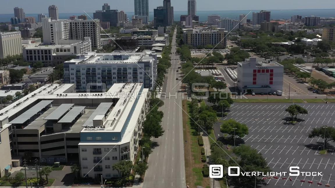 Aerial Footage Downtown St. Petersburg Florida Covid 19 Empty Street Reverse