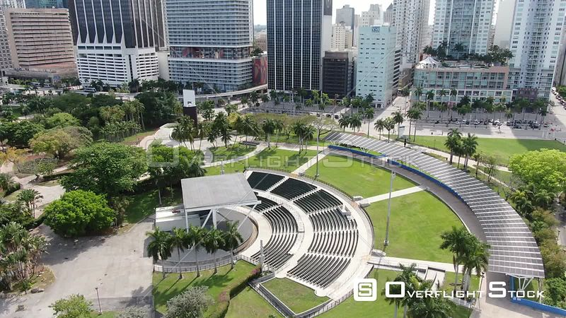 Drone Video Bayfront Park Amphitheatre Miami During Covid-19 Pandemic