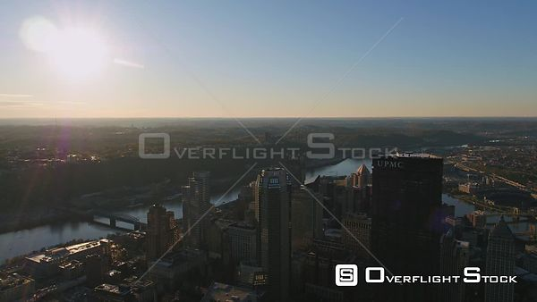 Pittsburgh Pennsylvania Short downtown cityscape and fly over