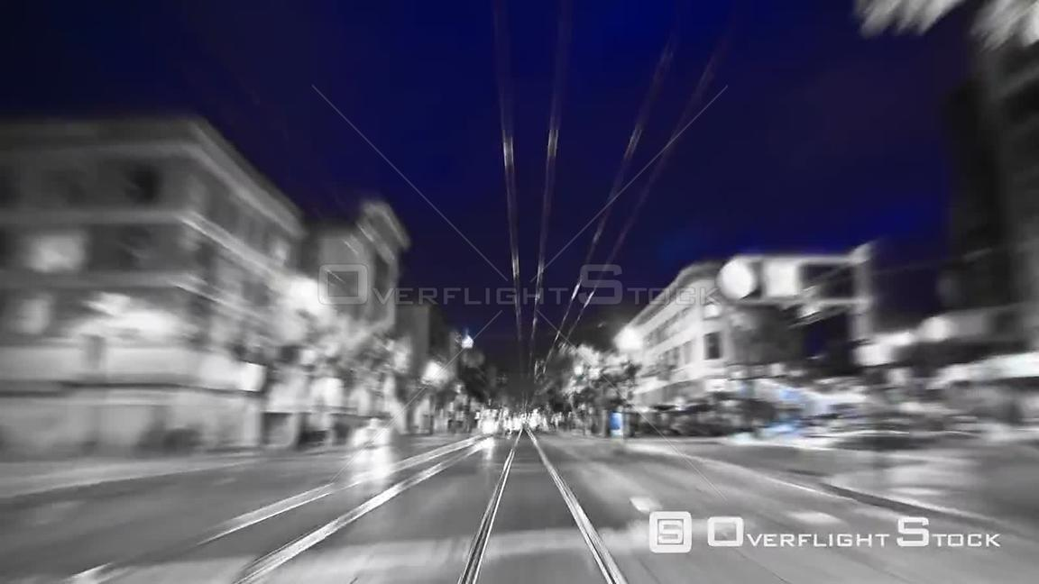 San Francisco California USA San Francisco city driving time lapse using a B & W photo and zoom blur effects.