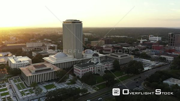 Aerial video Florida State Capitol Building Downtown Tallahassee shot at sunset