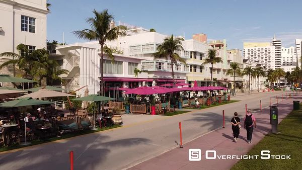 Aerial Video Miami Beach Ocean Drive Tables on Street Social Distancing Measures