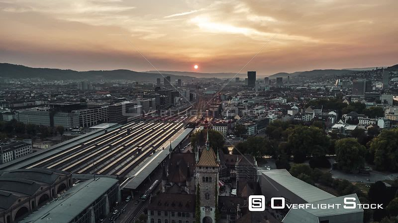 Drone Video Cityscape Zurich Main Station Switzerland