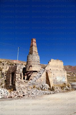Abandoned kiln and chimney of brick factory at Achachicala Arriba, La Paz Department, Bolivia