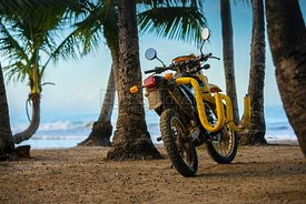Dirt Bike with Surfboard rack on a Beach