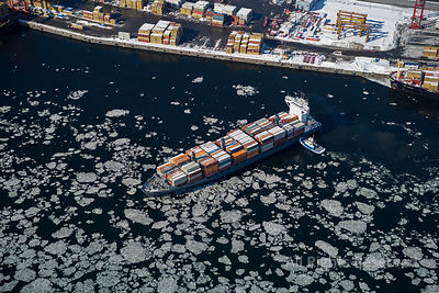Winter Shipping on the St Lawernce Montreal Quebec Canada