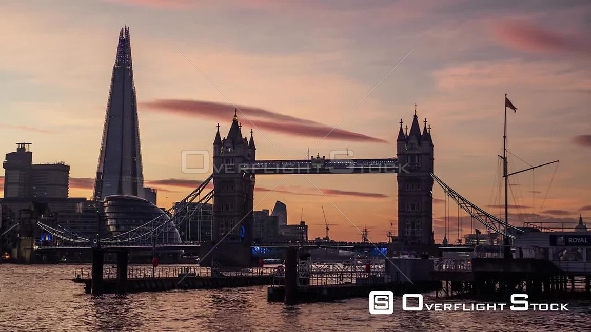 Day to Night TimeLapse London Bridge and Thames River England