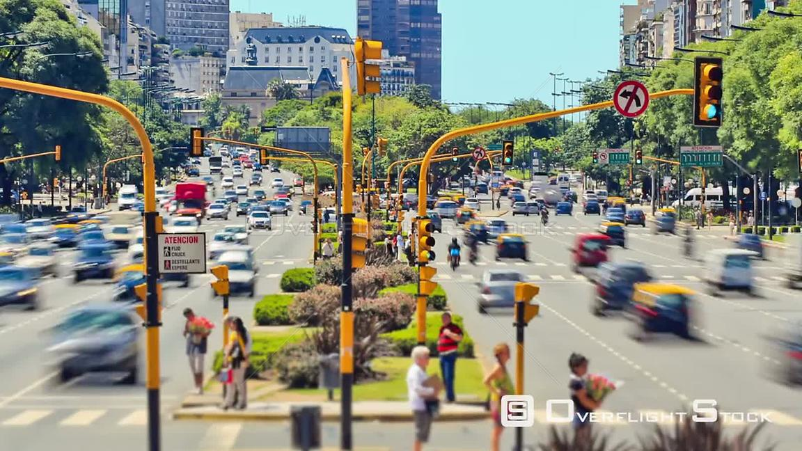 Busy City traffic time lapse of Buenos Aires Argentina