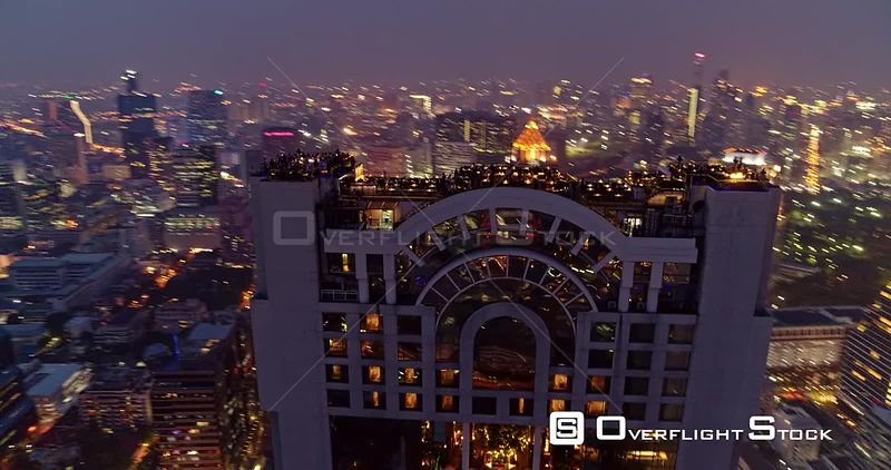 Thailand Bangkok Aerial Panoramic birdseye view of Thung Maha Mek cityscape with rooftop bar detail