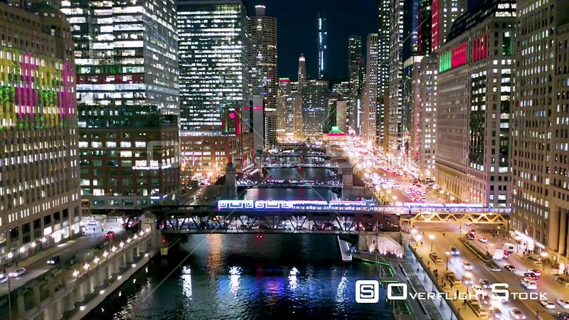 Chicago River at Night Drone Video