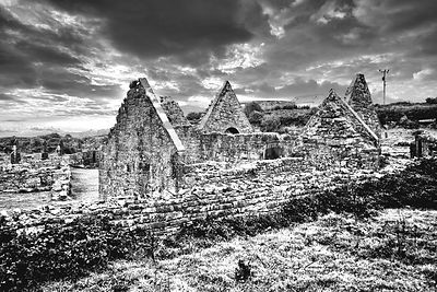 The Seven Churches (B&W)- Inishmore, Ireland