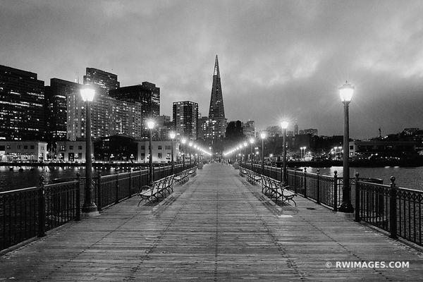 PIER 7 AT NIGHT SAN FRANCISCO BLACK AND WHITE